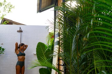Using an outdoor shower after surfing