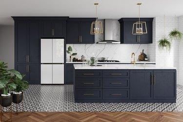 modern kitchen with four-door fridge