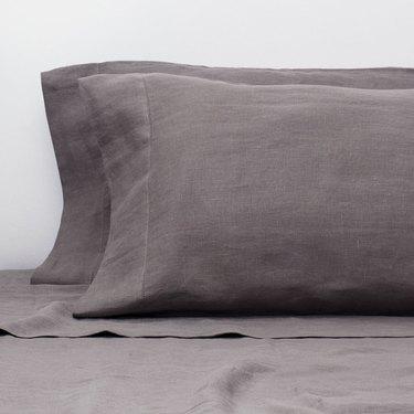 crane & canopy gray linen sheets and pillows