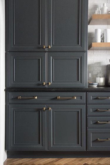 dark Raised Panel Cabinetry in kitchen with brass pulls