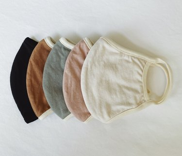 mate the label cloth face coverings in black, brown, green, pink, and white