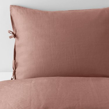 IKEA linen sheets in brown color