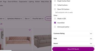 screenshot of online shopping menu side bar