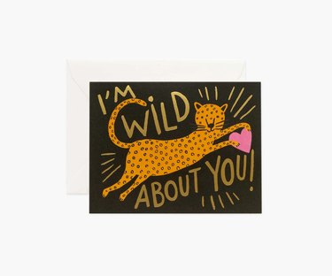 "card with leopard and text that reads ""i'm wild about you"""
