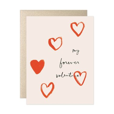 """card with red hearts that reads """"my forever valentine"""""""