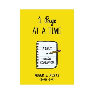 yellow journal with black text and illustration of notebook and pencil