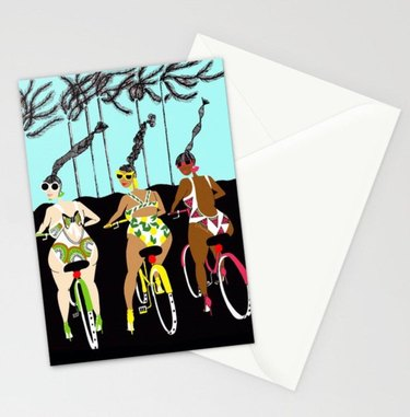 card with tree figures on bikes