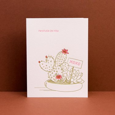 "valentines day card with cactus and text that reads ""i'm stuck on you"""