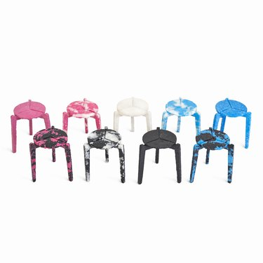 stools in various colors in two rows