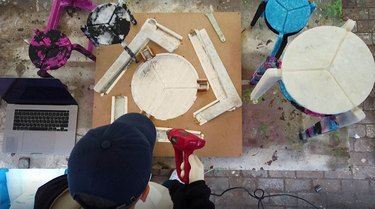 person creating stool