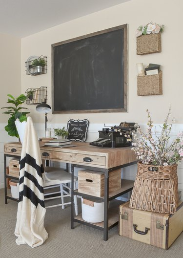 Farmhouse home office with blackboard and wood desk