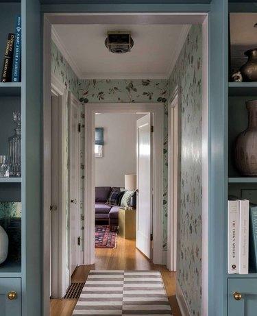 Hallway Runner Ideas in Hallway with wallpaper, striped runner.