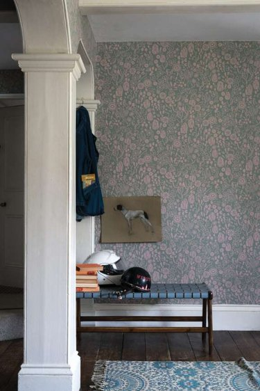 Hallway Wallpaper Ideas in entrance hallway with seating and floral wallpaper