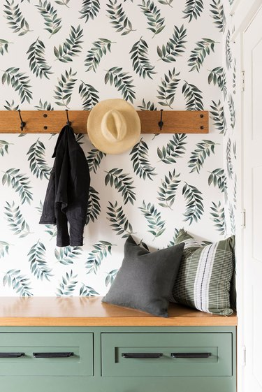 Hallway Wallpaper Ideas in green and white hallway design with botanical wallpaper