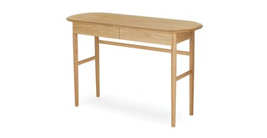 light wood rounded desk