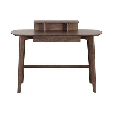 dark wood rounded desk