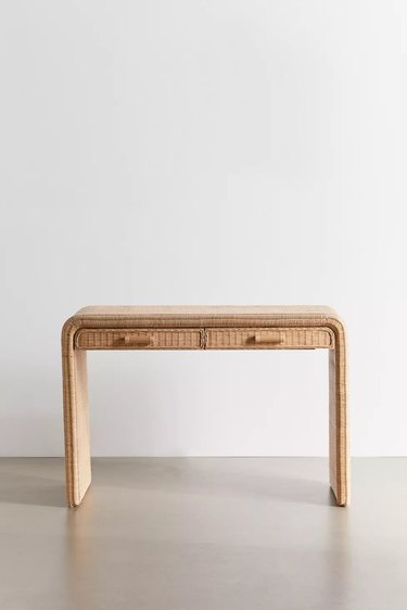 rattan desk with two drawers