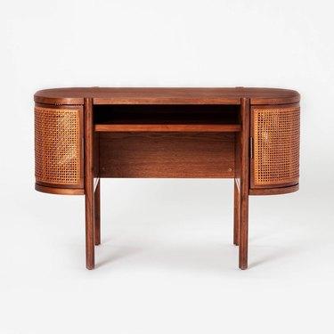round cane desk