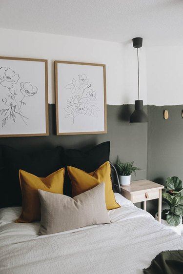 two tone small guest room ideas with earthy tones