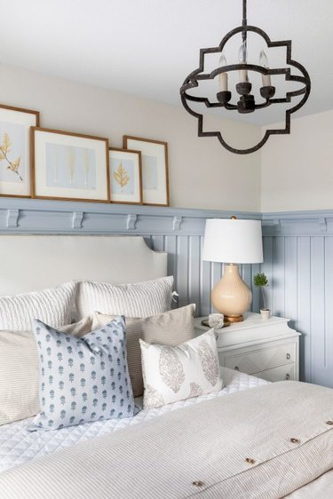 farmhouse small guest room ideas with baby blue paneling
