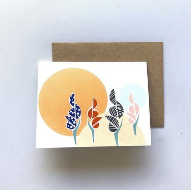 greeting card with illustrated plant design
