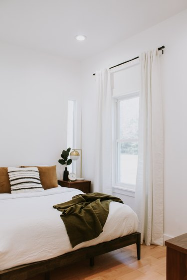 compact minimal small guest room ideas with earthy tones
