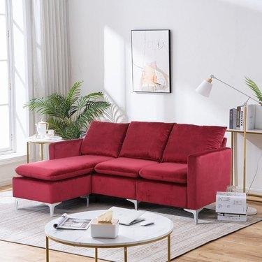 Wrought Studio Halimah Wide Velvet Reversible Sofa