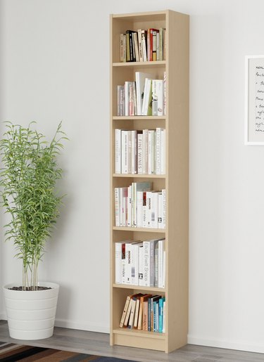 Bookshelves for Small Spaces with Wood bookcase, plant, books.