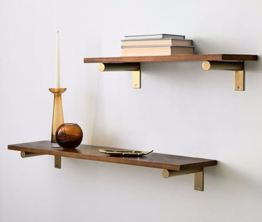 Bookshelves for Small Spaces with books, vases.