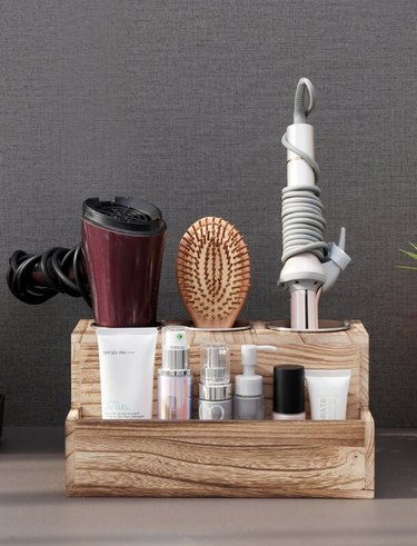 real wood hair styling tool organizer