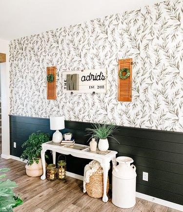 Hallway Makeover Ideas in eclectic hallway with removable botanical wallpaper