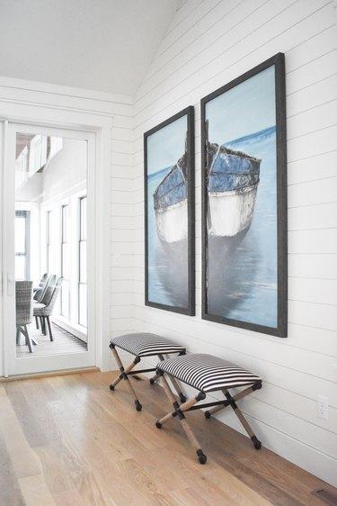 White shiplap hallway walls in hallway by Interior Impressions