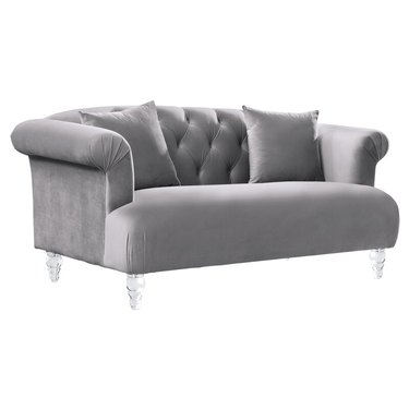 silver tufted loveseats for small spaces