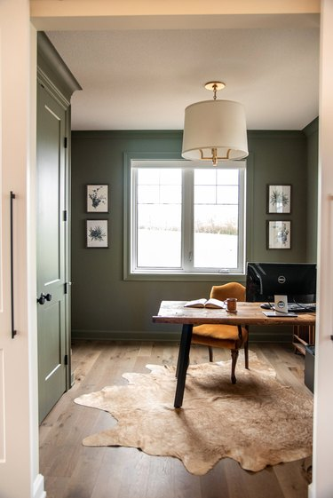 Green home office with rust colored chair and natural hide