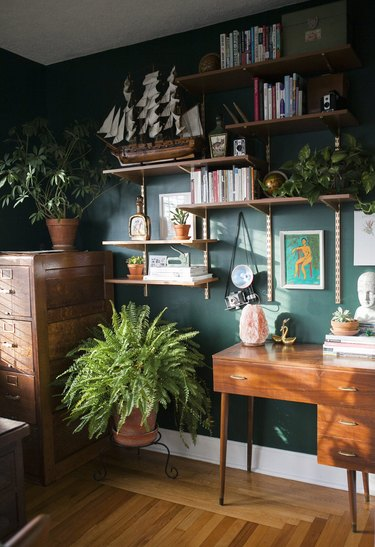 Green home office with vintage pieces on open shelving