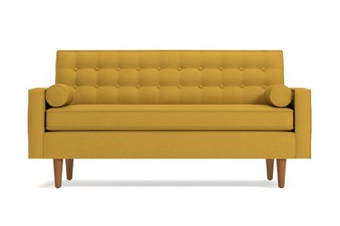 yellow midcentury modern loveseats for small spaces