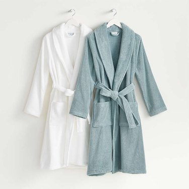 white and blue bath robes