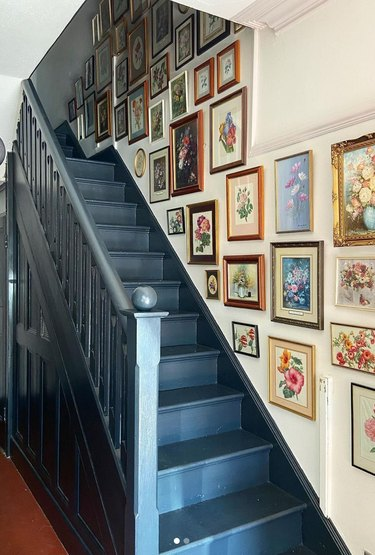 Stair and Hallway Gallery Wall Ideas with prints, art, painted stairs.