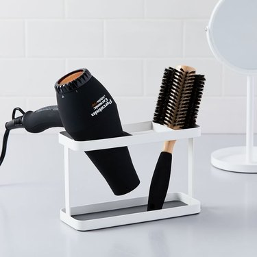 Yamazaki hair styling tool organizer for countertop