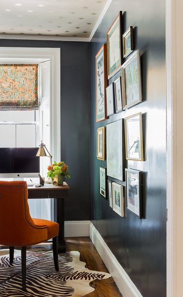 traditional home office with blue and orange palette