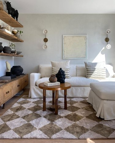 eye swoon living room checkerboard rug
