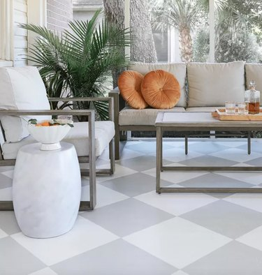 checkerboard floor diy