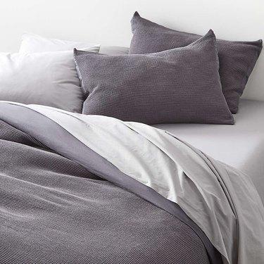 gray bed linens