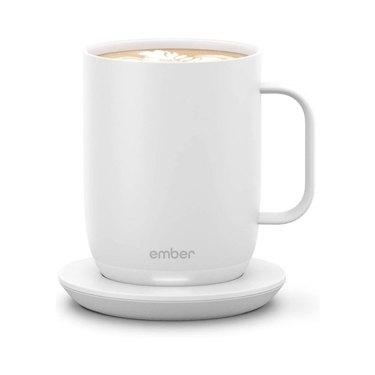 white smart mug on coaster