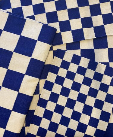 aelfie blue and white checked rugs