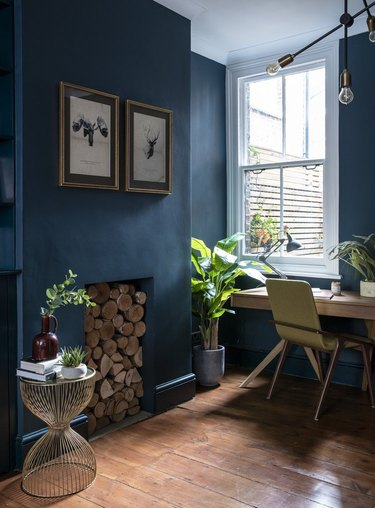 blue home office with green plants and wood floors
