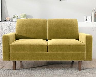 mustard velvet sofa