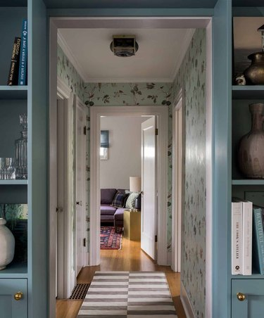 Hallway Wallpaper Ideas in hallway with mint green wallpaper and white ceilings