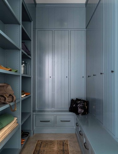 shiplap hallway in mudroom