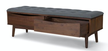Wood Hallway Benches with tufted cushion, drawers.